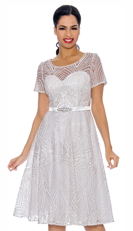 Annabelle 8690-WH ( 1pc Short Sleeve Lace & Tulle Design Dressy Dress )