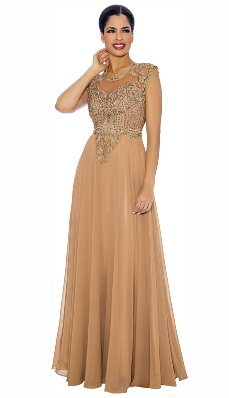 Annabelle 8634-GO ( 1pc Floor Length Dressy Dress With Elaborate Bodice )