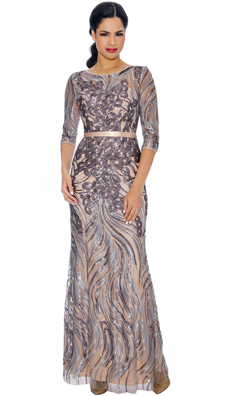 Annabelle 8708-MU ( 1pc Floor Length Gown With Print Design )