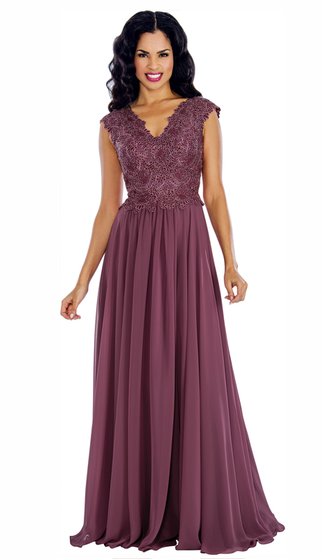 Annabelle 8630-BE ( 1pc Short Sleeve Vee Neckline Fit and Flare Floor Length Gown )