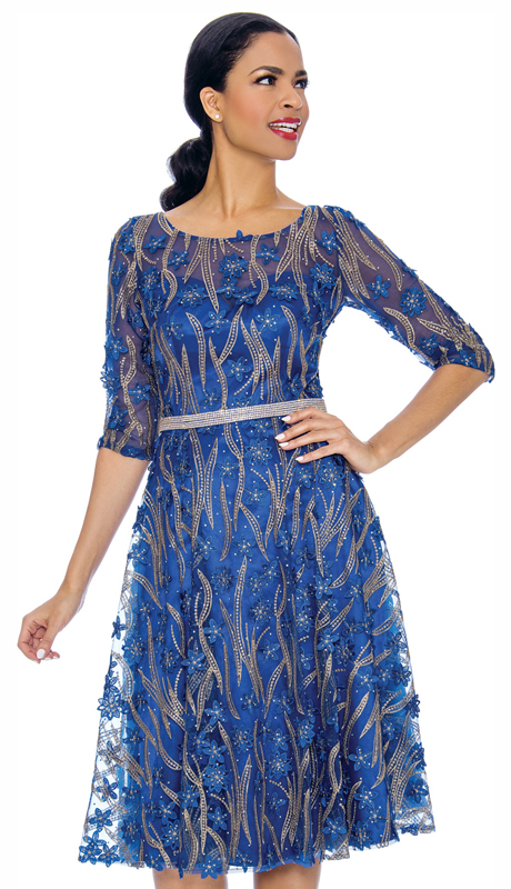 Annabelle 8706-RO ( 1pc Dressy Dress With Mesh And Floral Applique Design )