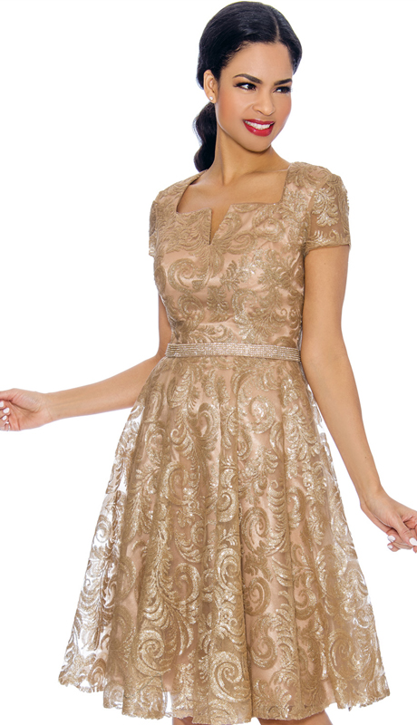 Annabelle 8705-GO ( 1pc Special Occasion Dress With Intricate Design )