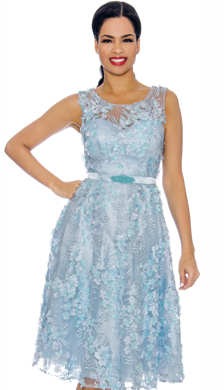 Annabelle 8704-BL ( 1pc Sleeveless Lace & Tulle Design Special Occasion Dress )