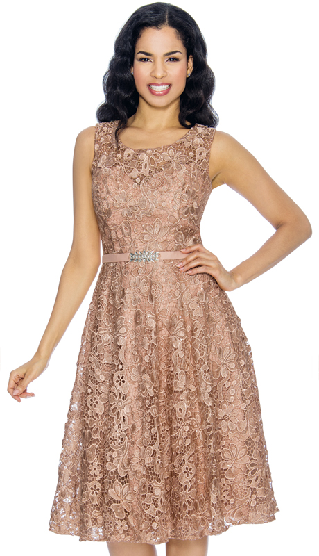 Annabelle 8674-BR ( 1pc Sleeveless Lace Tea Length Dressy Dress )