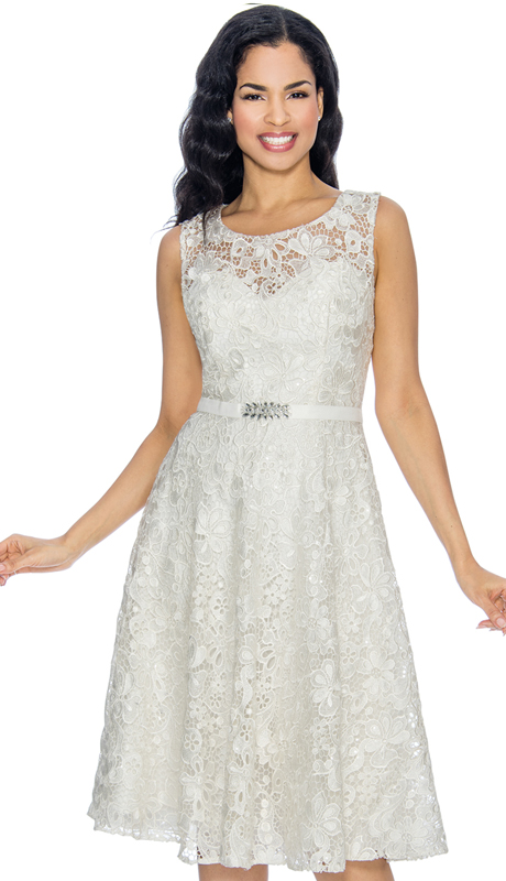 Annabelle 8674-OW ( 1pc Sleeveless Lace Tea Length Dressy Dress )