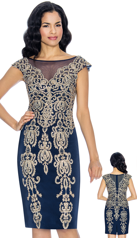 Annabelle 8673-NA ( 1pc Cap Sleeve Pencil Dressy Dress With Elaborate Applique )
