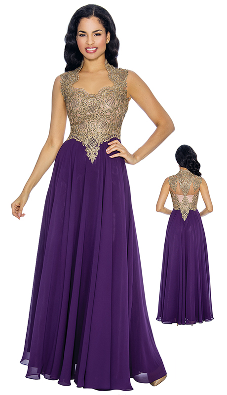 Annabelle 8672-PU ( 1pc Sleeveless Mother Of The Bride Gown With Embellished Bodice & Elaborated Neckline Design )