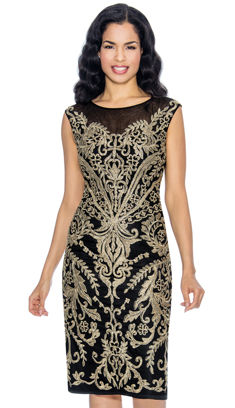 Annabelle 8668-BG ( 1pc Sleeveless Pencil Special Occasion Dress With Brocade Style Design )