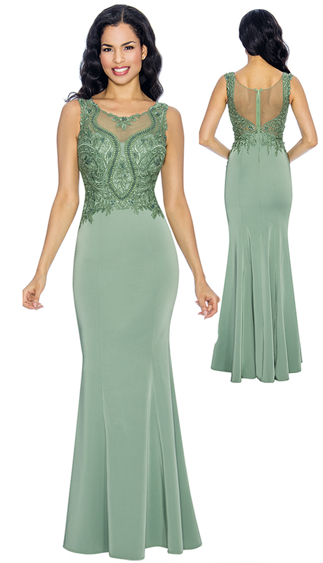 Annabelle 8666-GR  ( 1pc Sleeveless Fit And Flare Floor Length Gown With Intricate Design Bodice )