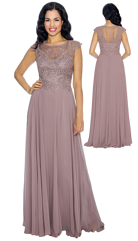 Annabelle 8665-DR ( 1pc Cap Sleeve Pleated Mother Of The Bride Gown With Embellished Bodice )