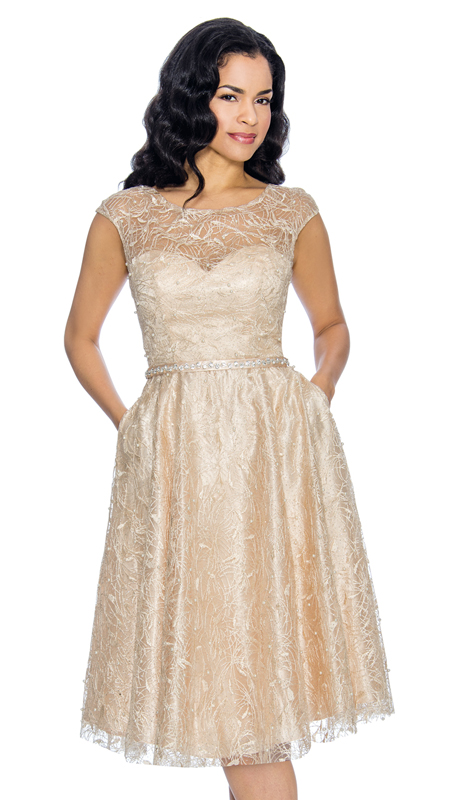Annabelle 8662-CH  ( 1pc Cap Sleeve Pleated Special Occasion Dress With Lace Design )