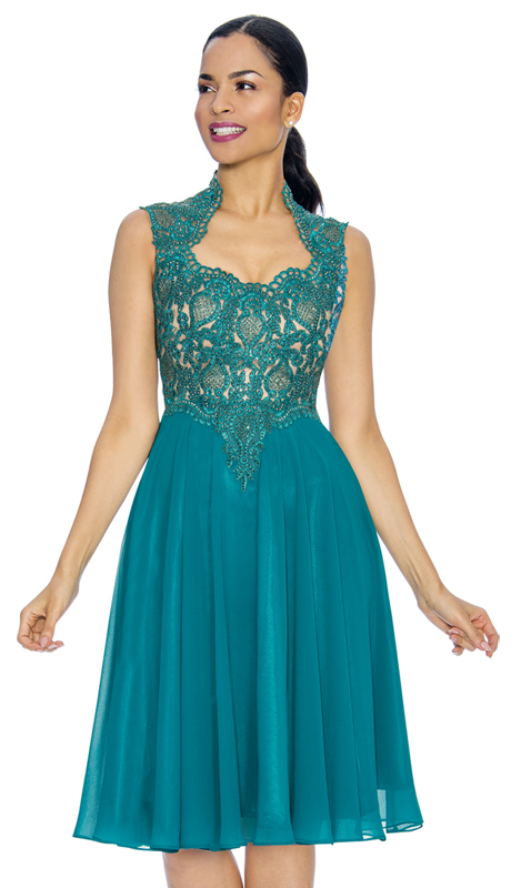 Annabelle 8660-JA ( 1pc Sleeveless Tea Length Special Occasion Dress With Decollete Neckline )