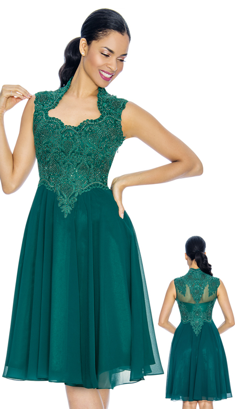 Annabelle 8660-FO ( 1pc Sleeveless Tea Length Special Occasion Dress With Decollete Neckline )