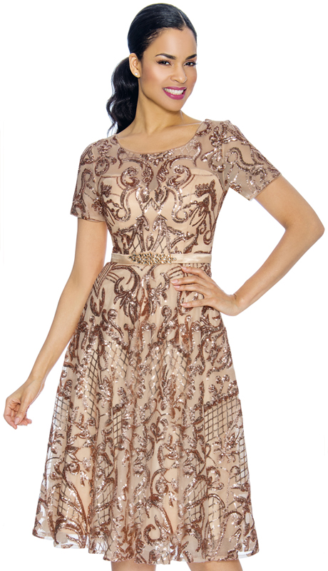 Annabelle 8659-RG ( 1pc Boat-Neck Tea Length Special Occasion Dress With Intricate Print Design )