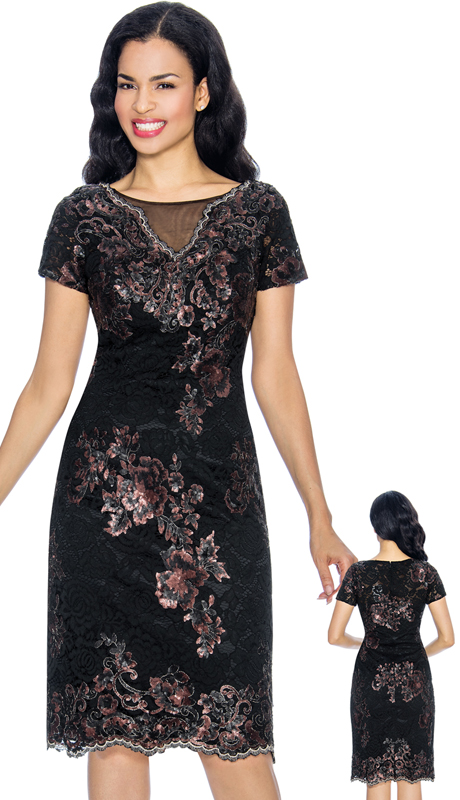 Annabelle 8656-BM ( 1pc Short Sleeve Pencil Special Occasion Dress With Multi Floral Print )