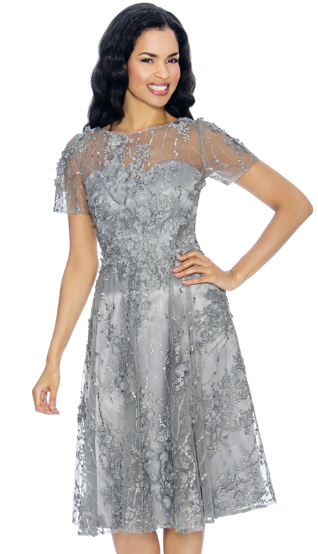 Annabelle 8655-SI ( 1pc Short Sleeve Dressy Dress With Mesh And Floral Applique Design )