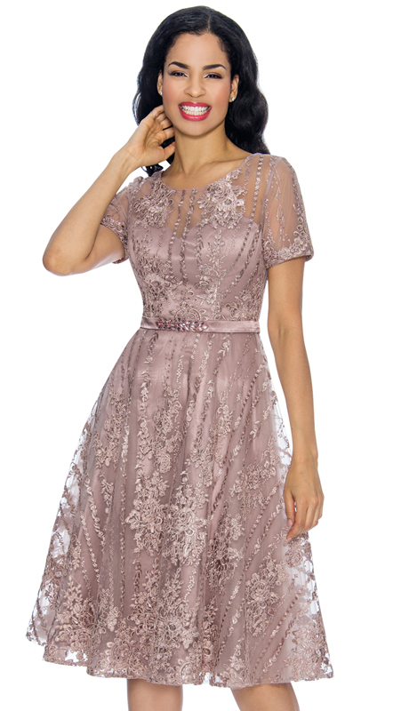 Annabelle 8654-MA ( 1pc Short Sleeve Lace & Tulle Design Dressy Dress )