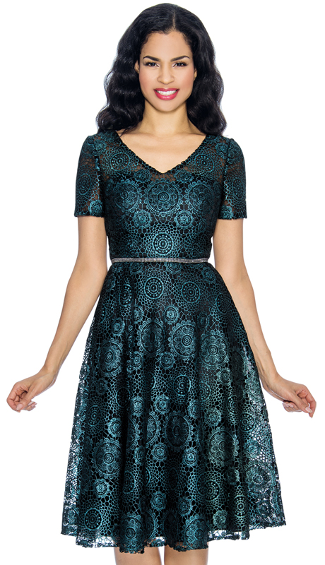 Annabelle 8652-MT ( 1pc Short Sleeve Vee Neckline Dressy Dress With Geometric Style Print )