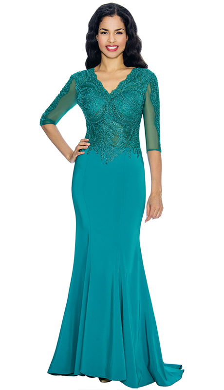 Annabelle 8622-TE ( 1pc Half Sleeve Vee Neckline Fit and Flare Floor Length Gown )