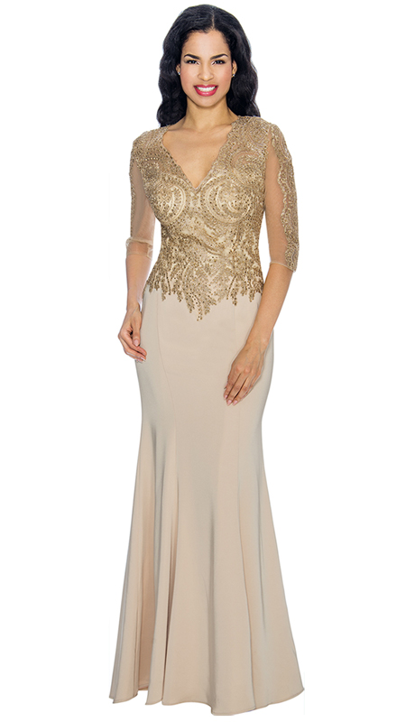 Annabelle 8622-CH ( 1pc Half Sleeve Vee Neckline Fit and Flare Floor Length Gown )