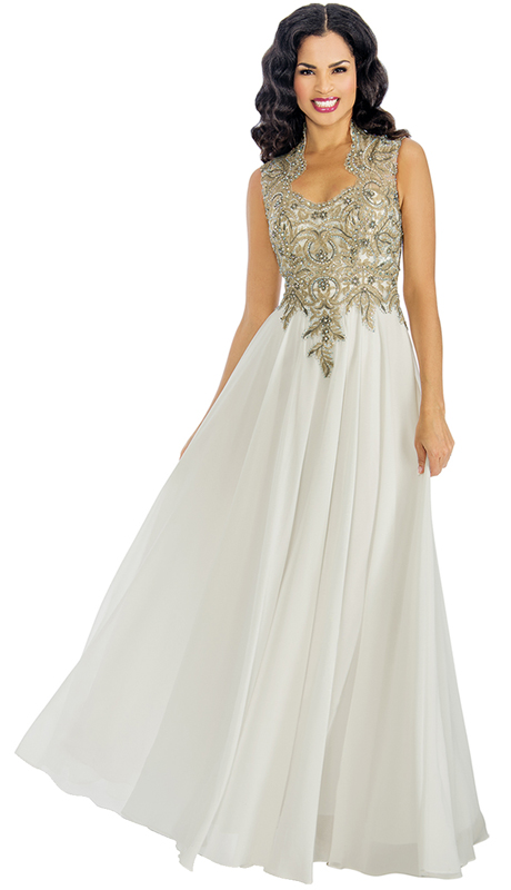 Annabelle 8599-OW ( 1pc Sleeveless Pleated Floor Length Mother Of The Bride Gown With Ornate Decollete Neckline Bodice )