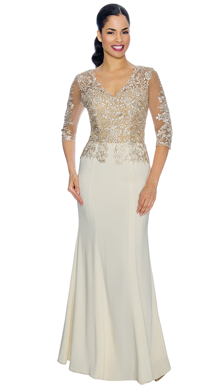 Annabelle 8590-IV ( 1pc Half Sleeve Fit And Flared Special Occasion Gown With Lace Applique Bodice )