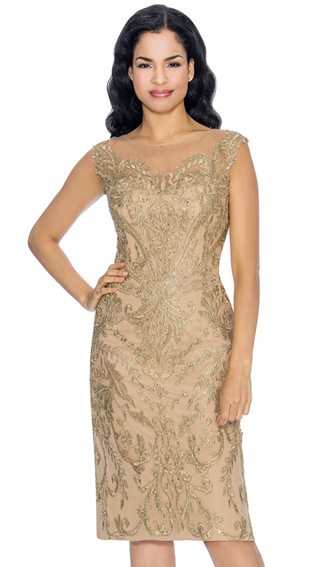 Annabelle 8668-GO ( 1pc Sleeveless Pencil Dressy Dress With Brocade Style Design )