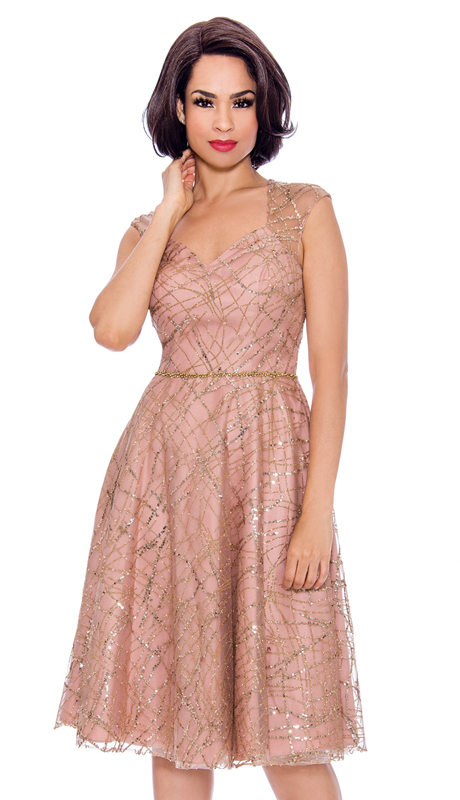 Annabelle 8721-RS-CO ( 1pc Sleeveless Lace Tea Length Dressy Dress )