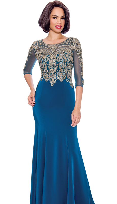 Annabelle 8682-TE ( 1pc Boat-Neck Floor Length Dressy Dress With Elaborate Bodice )