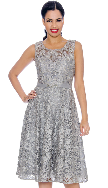 Annabelle 8674-SI ( 1pc Sleeveless Lace Tea Length Dressy Dress )