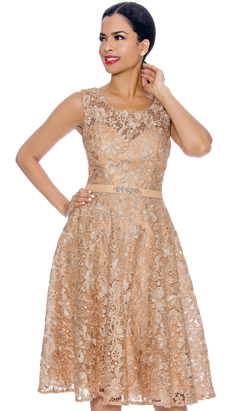 Annabelle 8674-GO ( 1pc Sleeveless Lace Tea Length Dressy Dress )
