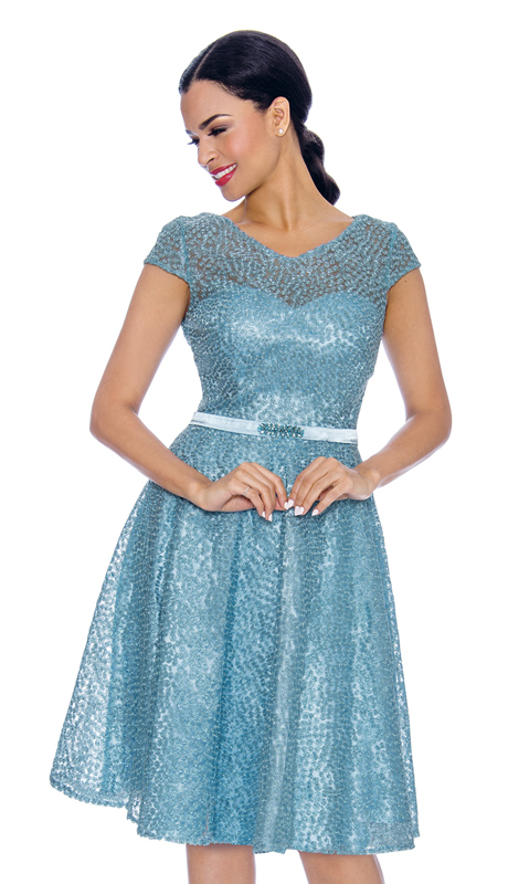 Annabelle 8669-MB ( 1pc Short Sleeve Lace And Tulle Design Special Occasion Dress )