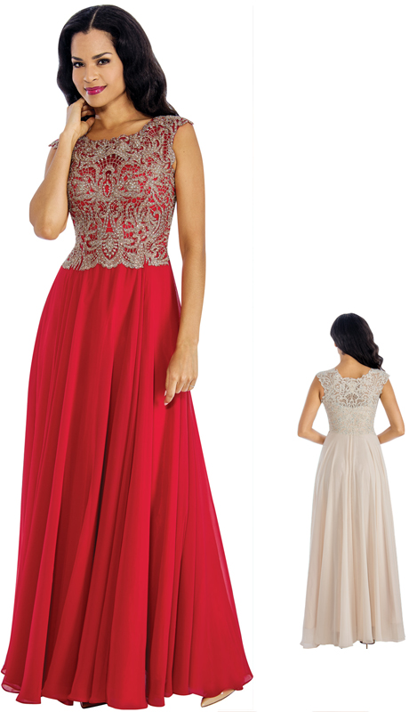 Annabelle 8637 ( 1Pc  Beaded Chiffon Pleated Evening Gown For The Mother Of Bride )