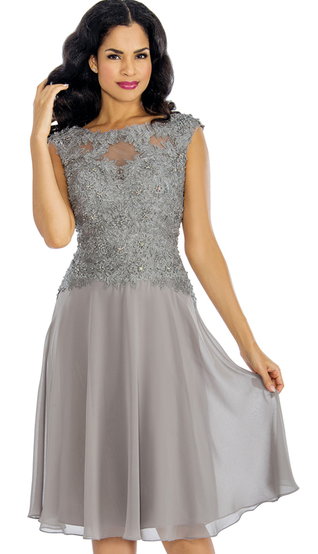 Annabelle 8636-SIL ( 1pc Organza Embellished Illusion Cocktail Dress For Special Occasions )