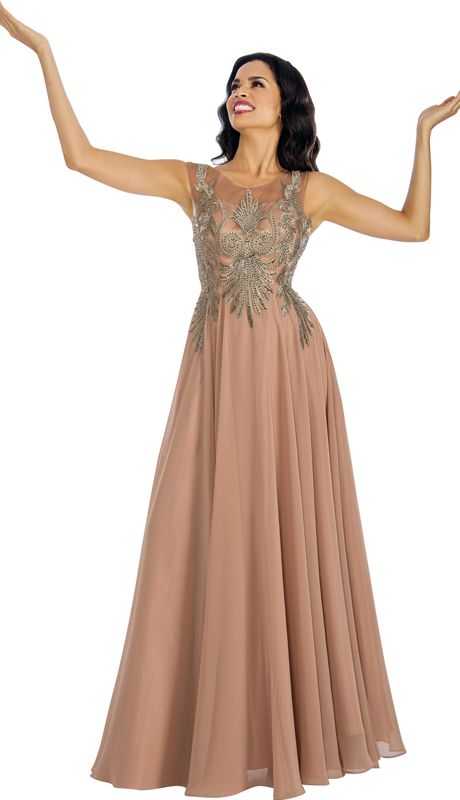 Annabelle 8635 ( 1Pc  Beaded Chiffon Pleated Evening Gown For The Mother Of Bride )