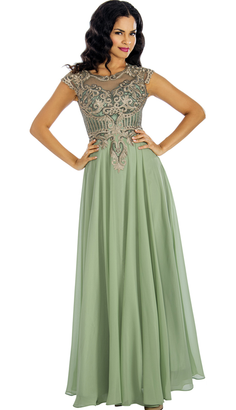 Annabelle 8634-SA ( 1Pc Beaded Chiffon Pleated Evening Gown For The Mother Of Bride )