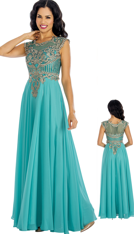 Annabelle 8634-AQ ( 1Pc Beaded Chiffon Pleated Evening Gown For The Mother Of Bride )
