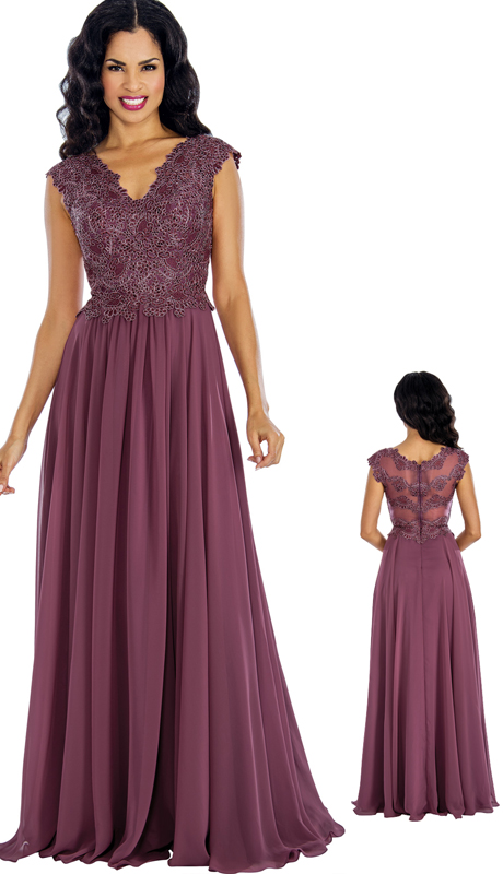 Annabelle 8630 ( 1 pc Beaded Chiffon Pleated Evening Gown For Bridesmaid )