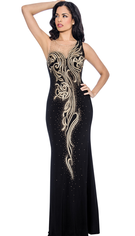 Annabelle 8611 ( 1pc High-Neck Illusion Tulle With Sequin Detail and Embroidered Evening Gown For Special Occasion )