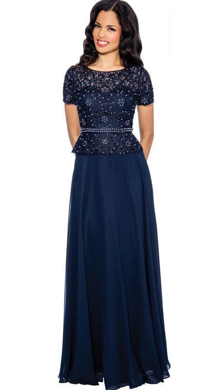 Annabelle 8596 ( 1pc Beaded Lace Peplum Belted Evening Gown For The Mother Of The Bride )