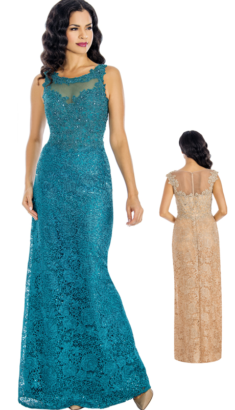 Annabelle 8583 ( 1pc Sleeveless Beaded Lace Illusion Trumpet Gown For Special Occasion )