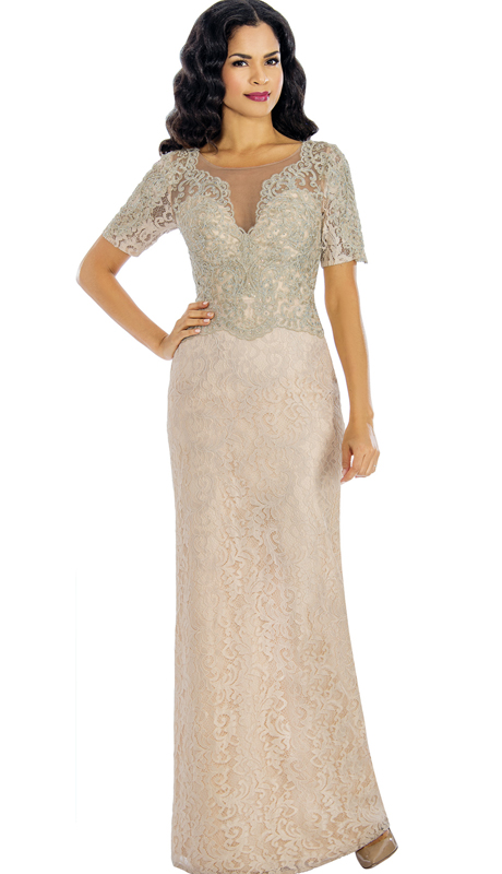 Annabelle 8579-CH ( 1pc Lace Appliqué Trumpet Gown For The Mother Of The Bride )