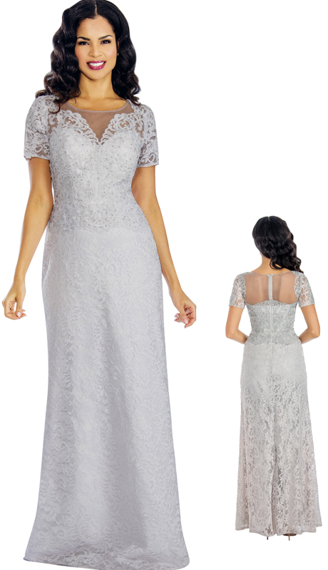Annabelle 8579-SIL ( 1pc Lace Appliqué Trumpet Gown For The Mother Of The Bride )