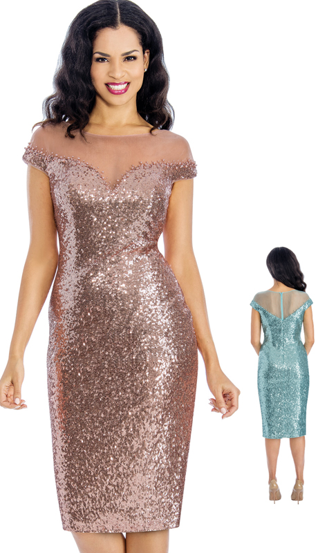 Annabelle 8640 ( 1pc Dress Sequin Illusion Cocktail Dress )