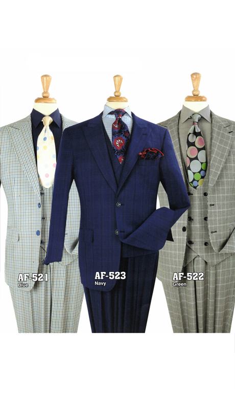 Iconic AF-521 ( 3pc Luxury Suit With Vest And Semi Wide Leg Pants, Super 130's )