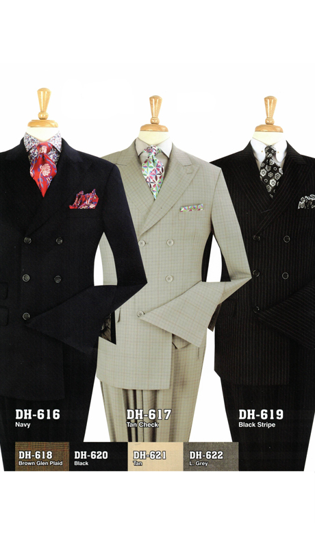 Iconic DH-616 ( 3pc High Fashion Double Breast Suit With Vest And Pleated Pants, Super 150's )