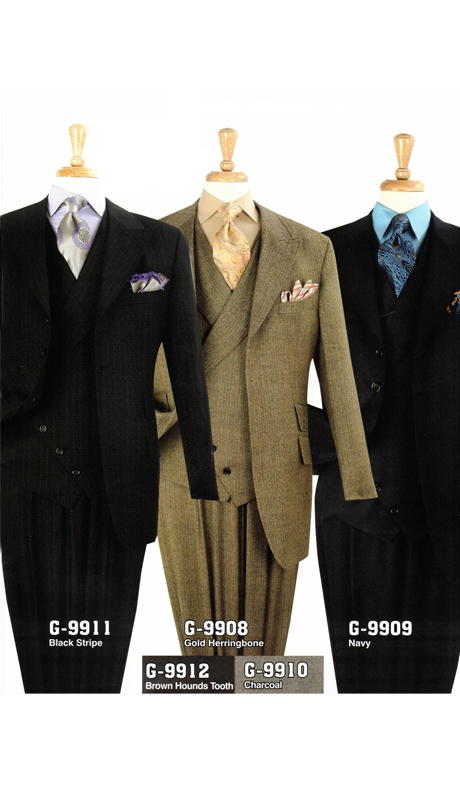 Iconic G-9911 ( 3pc High Fashion Suit With Vest And Semi-Wide Leg Pants, Super 150's )