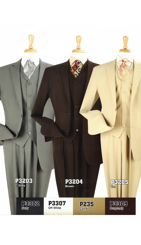 Iconic P3203 ( 3pc Men Suit, 2 Buttons, Side Vents, Flat Front Pants )