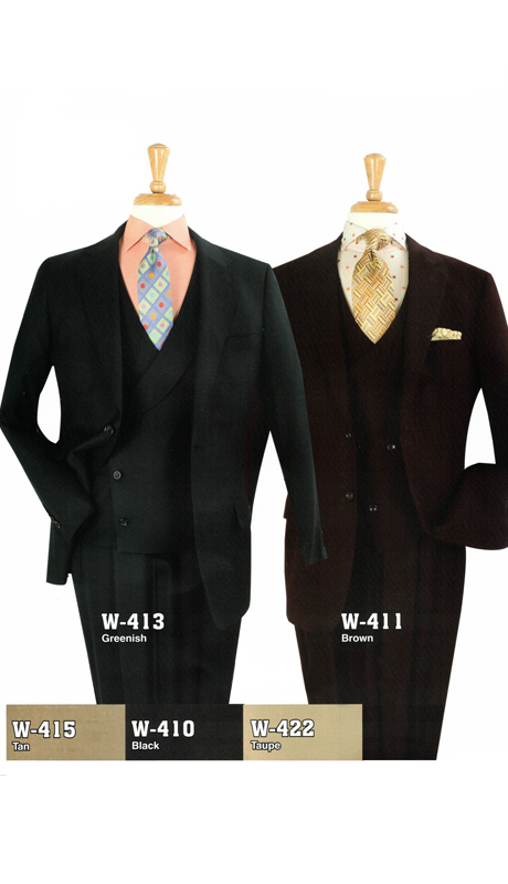 Iconic W-413 (  3pc High Fashion Suits With Vest And Semi-Wide Leg Pants, Super 150's )