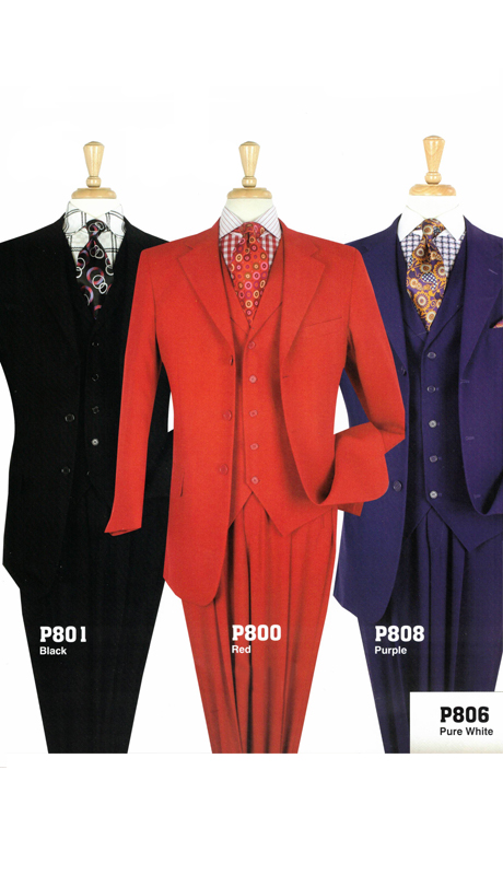 Iconic P800 ( 3pc Mens High Fashion Suits With Semi Wide Leg Pants )